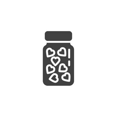 Heart medicine bottle vector icon. filled flat sign for mobile concept and web design. Love pill tablets glyph icon. Symbol, logo illustration. Vector graphics