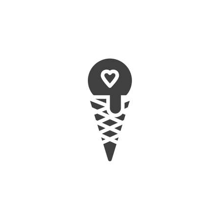 Cone ice cream with heart vector icon. filled flat sign for mobile concept and web design. Love ice cream glyph icon. Valentine day desert symbol, logo illustration. Vector graphics