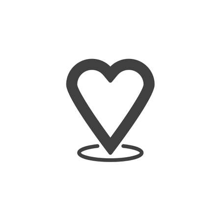 Heart map marker vector icon. filled flat sign for mobile concept and web design. Heart location pin glyph icon. Rendezvous placeholder symbol illustration. Vector graphics Illustration
