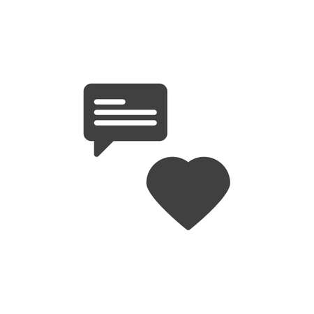 Love chat message vector icon. filled flat sign for mobile concept and web design. Heart and speech bubble glyph icon. Romantic conversation symbol, logo illustration. Vector graphics  イラスト・ベクター素材