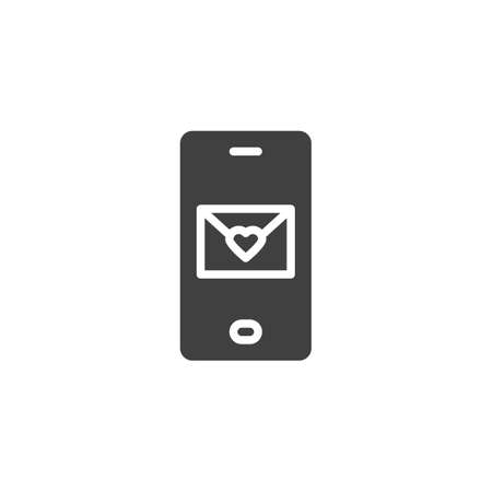 Mobile love message vector icon. filled flat sign for mobile concept and web design. Mobile phone with heart envelope glyph icon. Symbol, logo illustration. Vector graphics