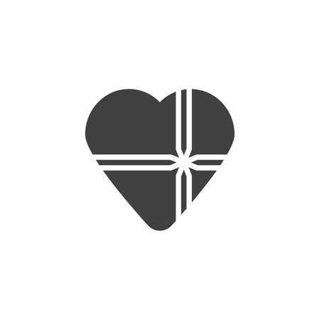 Heart gift box vector icon. filled flat sign for mobile concept and web design. Chocolate box glyph icon. Valentines day present symbol, logo illustration. Vector graphics