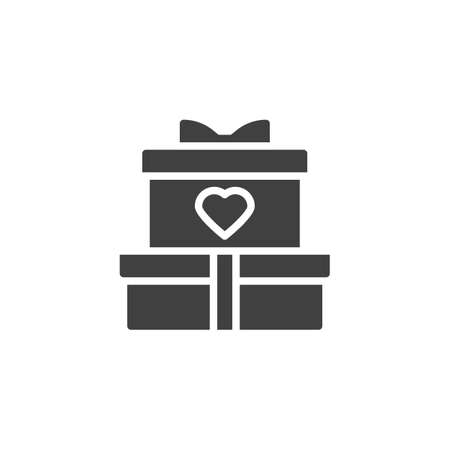 Gift boxes with heart vector icon. filled flat sign for mobile concept and web design. Wedding present box glyph icon. Symbol, logo illustration. Vector graphics