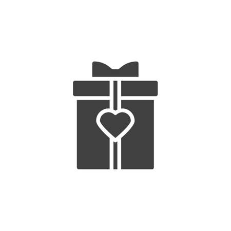 Gift box with heart vector icon. filled flat sign for mobile concept and web design. Romantic present box with bow ribbon glyph icon. Symbol, logo illustration. Vector graphics