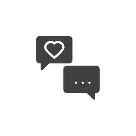 Heart speech bubble vector icon. filled flat sign for mobile concept and web design. Love forum chat glyph icon. Romantic conversation symbol, logo illustration. Vector graphics  イラスト・ベクター素材