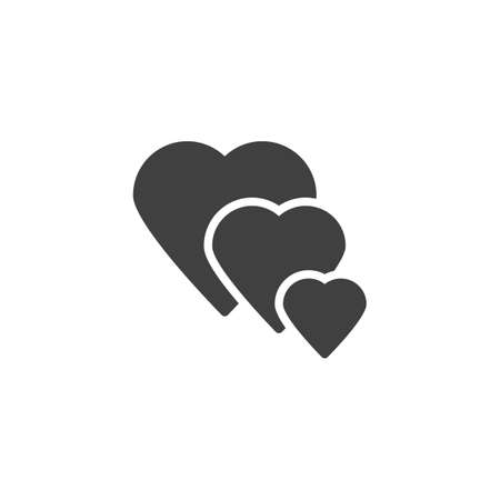 Three hearts vector icon. filled flat sign for mobile concept and web design. hearts glyph icon. Love symbol, logo illustration. Vector graphics
