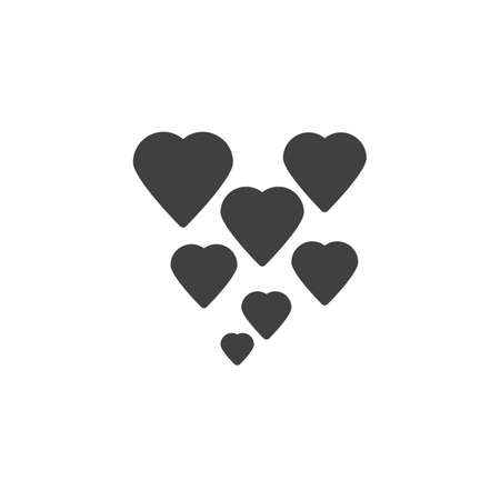 Abstract hearts vector icon. filled flat sign for mobile concept and web design. Love hearts glyph icon. Valentines day symbol, logo illustration. Vector graphics