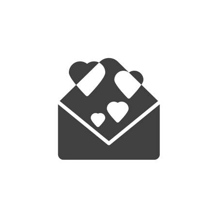 Love letter vector icon. filled flat sign for mobile concept and web design. Open envelope with hearts glyph icon. Happy valentines day message symbol, logo illustration. Vector graphics  イラスト・ベクター素材