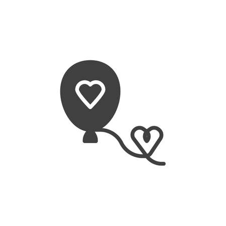 Balloon with heart vector icon. filled flat sign for mobile concept and web design. Decoration, love balloon glyph icon. Symbol, logo illustration. Vector graphics