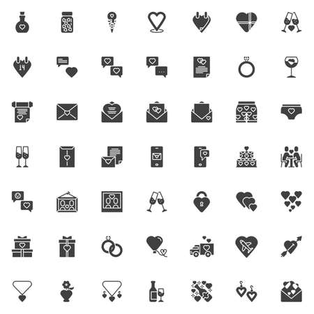 Love and wedding vector icons set, modern solid symbol collection, filled style pictogram pack. Signs logo illustration. Set includes icons as heart calendar, Wedding invitation card, engagement rings Illustration