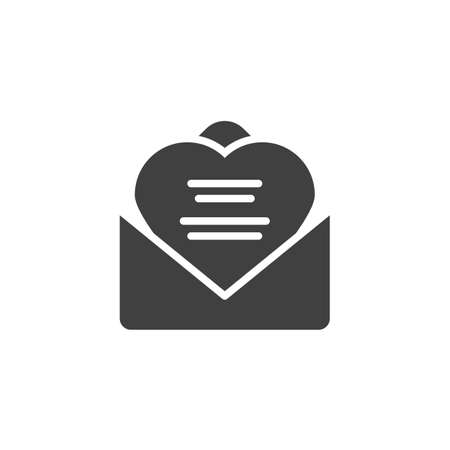 Received love letter vector icon. Wedding invitation card filled flat sign for mobile concept and web design. Open envelope letter with heart glyph icon. Symbol, logo illustration. Vector graphics