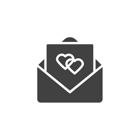 Wedding invitation card vector icon. Received love letter filled flat sign for mobile concept and web design. Open envelope letter with hearts glyph icon. Symbol, logo illustration. Vector graphics