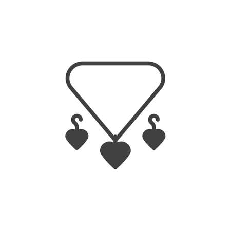 Heart necklace and earrings vector icon. filled flat sign for mobile concept and web design. Romantic gift present glyph icon. Symbol, logo illustration. Vector graphics