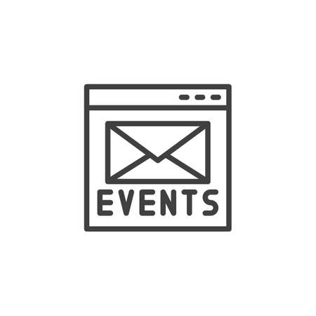 Online event invitation line icon. linear style sign for mobile concept and web design. Browser web page with envelope outline vector icon. Symbol, logo illustration. Vector graphics