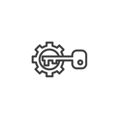 Gear and key line icon. linear style sign for mobile concept and web design. Activation configuration outline vector icon. Symbol illustration. Vector graphics
