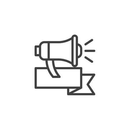 Advertising, promotion line icon. linear style sign for mobile concept and web design. Loudspeaker, megaphone, bullhorn outline vector icon. Symbol, logo illustration. Vector graphics