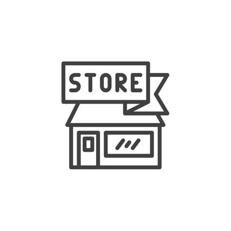 Store building line icon. linear style sign for mobile concept and web design. Shop outline vector icon. Symbol, logo illustration. Vector graphics