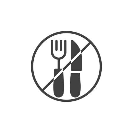 Fork and knife prohibition sign vector icon. No food filled flat sign for mobile concept and web design. Ramadan fasting glyph icon. Symbol, logo illustration. Vector graphics