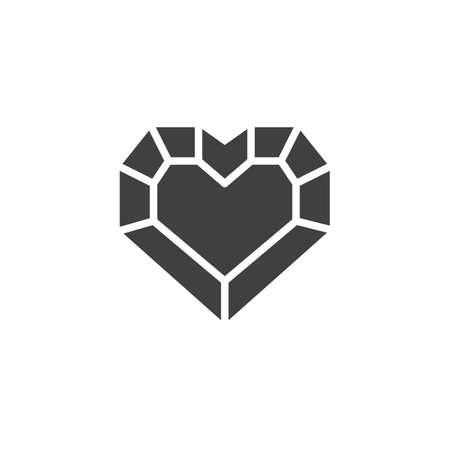 Heart shaped diamond vector icon. Precious stone, gem filled flat sign for mobile concept and web design. Heart gemstone glyph icon. Symbol illustration. Vector graphics