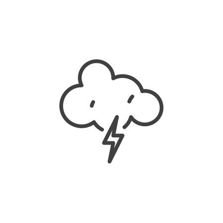 Cloud with lightning line icon. linear style sign for mobile concept and web design. Thunderstorm outline vector icon. Meteorology forecast symbol, logo illustration. Vector graphics Illustration