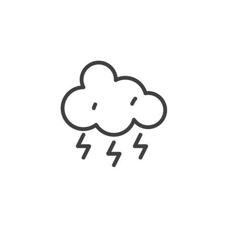 Lightning cloud line icon. linear style sign for mobile concept and web design. Thunderstorm cloud outline vector icon. Stormy weather symbol, logo illustration. Vector graphics Illustration