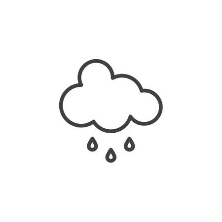 Cloud and rain drops line icon. linear style sign for mobile concept and web design. Rainy cloud outline vector icon. Weather meteorology symbol, logo illustration. Vector graphics Ilustração