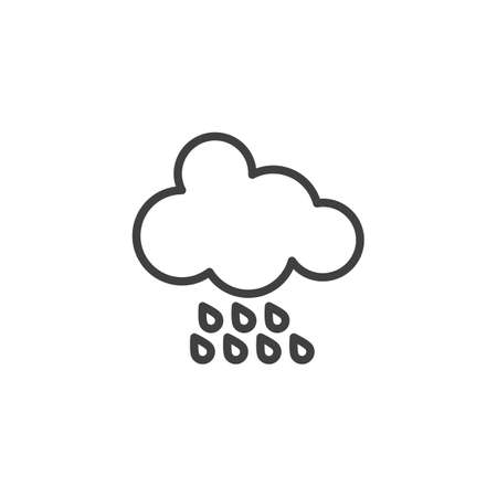 Rainy cloud line icon. linear style sign for mobile concept and web design. Cloud and raindrops outline vector icon. Meteorology weather symbol, logo illustration. Vector graphics