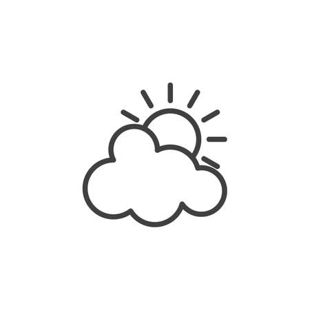 Sun and cloud line icon. linear style sign for mobile concept and web design. Sunny and partly cloudy outline vector icon. Cloudy weather symbol illustration. Vector graphics