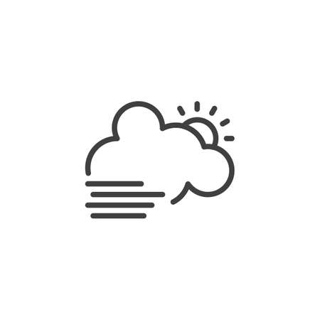 Cloud with sun and fog line icon. linear style sign for mobile concept and web design. Foggy day weather outline vector icon. Symbol, logo illustration. Vector graphics