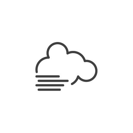 Cloud and fog line icon. linear style sign for mobile concept and web design. Cloudy and foggy weather outline vector icon. Symbol, logo illustration. Vector graphics  イラスト・ベクター素材