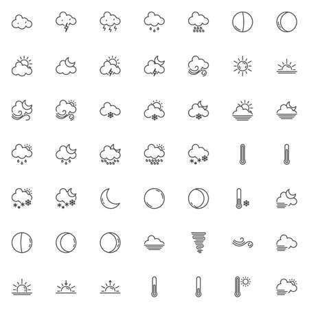 Weather line icons set. Forecast linear style symbols collection, outline signs pack. vector graphics. Set includes icons as temperature thermometer, rain clouds, sun, thunderstorm, foggy night, storm