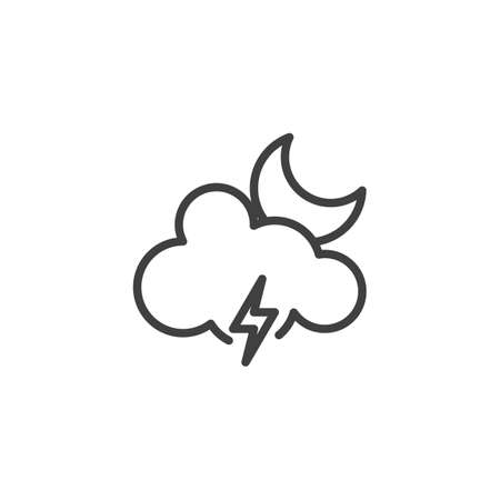 Moon cloud with lighting vector icon. filled flat sign for mobile concept and web design. Stormy night weather glyph icon. Meteorology symbol, logo illustration. Vector graphics