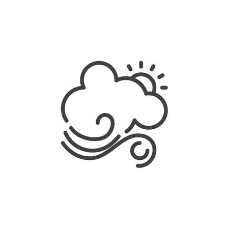 Sun with cloud and wind line icon. linear style sign for mobile concept and web design. Sunny windy and cloudy day outline vector icon. Forecast weather symbol, logo illustration. Vector graphics