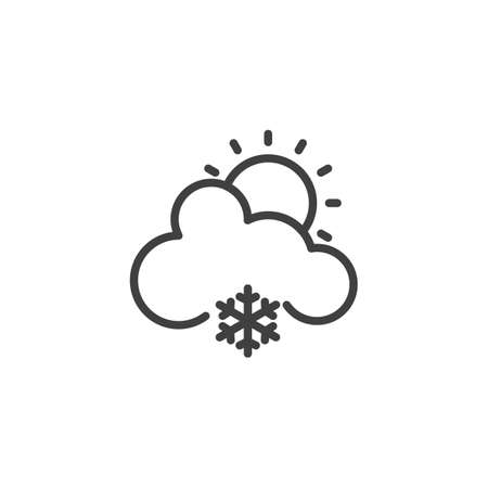 Sun with cloud and snowflake line icon. linear style sign for mobile concept and web design. Cloudy Snowy Sunny Day outline vector icon. Forecast weather symbol, logo illustration. Vector graphics