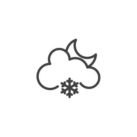 Moon with cloud and snowflake line icon. linear style sign for mobile concept and web design. Cloudy Snowy night outline vector icon. Forecast weather symbol, logo illustration. Vector graphics Ilustração
