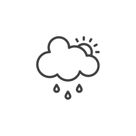 Cloud rain and sun line icon. linear style sign for mobile concept and web design. Sunny and rainy cloudy day outline vector icon. Forecast weather symbol, logo illustration. Vector graphics