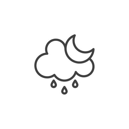Cloud rain and moon line icon. linear style sign for mobile concept and web design. Rainy cloudy night outline vector icon. Forecast weather symbol, logo illustration. Vector graphics