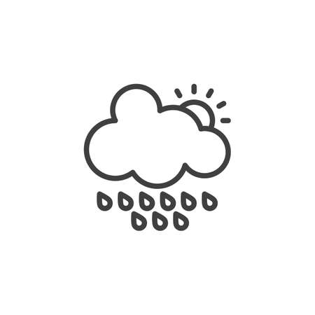 Cloud with raindrops and sun line icon. linear style sign for mobile concept and web design. Rainy cloudy day outline vector icon. Forecast weather symbol, logo illustration. Vector graphics