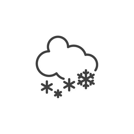 Cloud snow line icon. linear style sign for mobile concept and web design. Cloudy, snowflake outline vector icon. Winter weather symbol, logo illustration. Vector graphics Ilustração