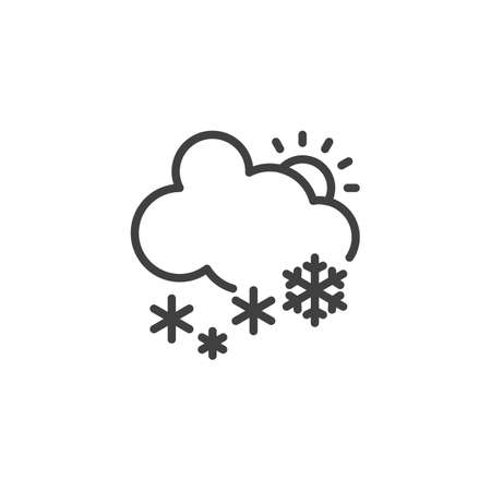 Snowing cloud and sun line icon. linear style sign for mobile concept and web design. Snowfall day outline vector icon. Winter weather symbol, logo illustration. Vector graphics
