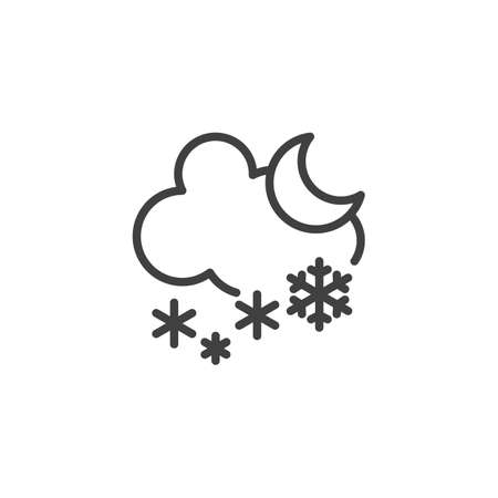 Snowing cloud and moon line icon. linear style sign for mobile concept and web design. Snowfall night outline vector icon. Winter weather symbol, logo illustration. Vector graphics Ilustração