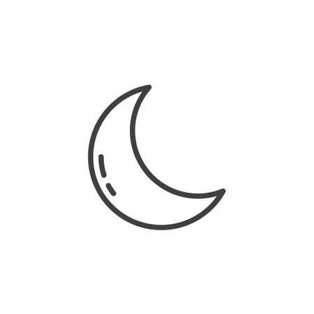 Crescent moon line icon. linear style sign for mobile concept and web design. Clear night weather outline vector icon. Forecast weather symbol illustration. Vector graphics 写真素材 - 124713368