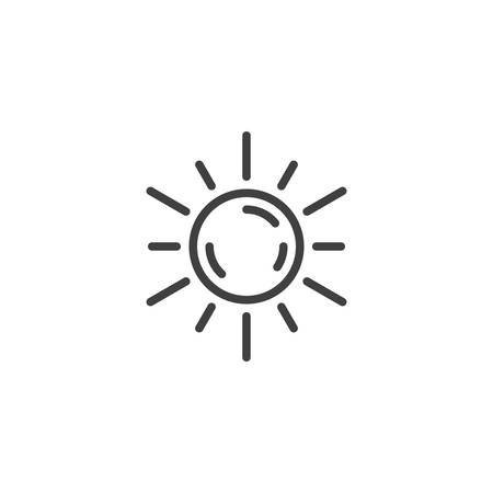 Sun shining line icon. linear style sign for mobile concept and web design. Sunny hot weather outline vector icon. Summer symbol, logo illustration. Vector graphics Ilustração