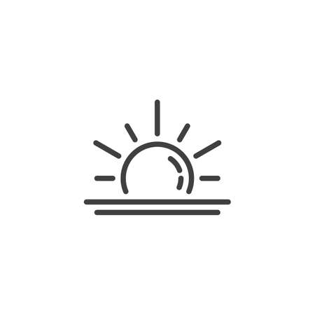 Rising sun line icon. Sunrise linear style sign for mobile concept and web design. Sun and sea water horizon outline vector icon. Summer weather symbol, logo illustration. Vector graphics  イラスト・ベクター素材