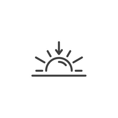 Sunset horizon line icon. Sundown linear style sign for mobile concept and web design. Sun and arrow down outline vector icon. Summer weather symbol, logo illustration. Vector graphics