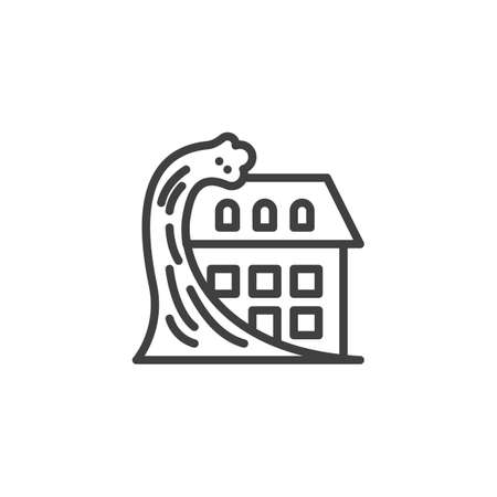 Home tsunami insurance line icon. linear style sign for mobile concept and web design. House and tsunami outline vector icon. Symbol, logo illustration. Vector graphics