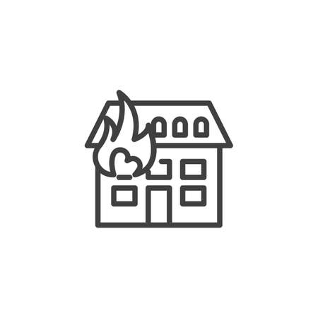 Home fire insurance line icon. linear style sign for mobile concept and web design. House with Fire outline vector icon. Symbol, logo illustration. Vector graphics Illustration