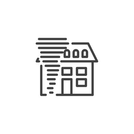 Home hurricane insurance line icon. linear style sign for mobile concept and web design. House and tornado outline vector icon. Symbol, logo illustration. Vector graphics