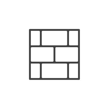 Brick wall line icon. linear style sign for mobile concept and web design. Concrete block wall outline vector icon. Construction symbol illustration. Vector graphics 矢量图像