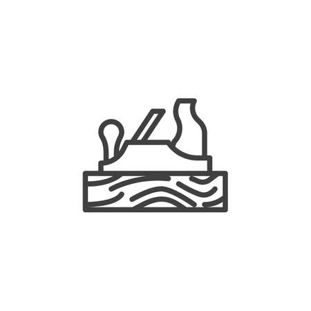 Hand plane line icon. Carpenter tool for shaping wood linear style sign for mobile concept and web design. Jointer plane outline vector icon. Woodworking tool symbol illustration. Vector graphics